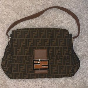 vintage Fendi baguette zuca canvas shoulder bag